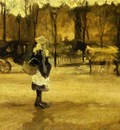Girl in the Street, Two Coaches in the Background, A