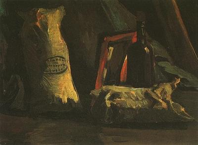 Still Life with Two Sacks and a Bottle