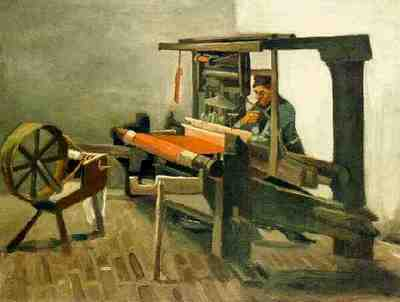 Weaver Facing Left with Spinning Wheel