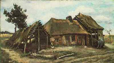Cottage with Decrepit Barn and Stooping Woman