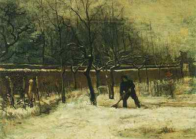 parsonage garden at nuenen in the snow, the version