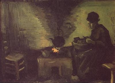 peasant woman by the fireplace version