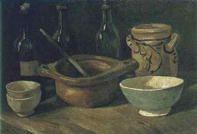Still Life with Earthenware and Bottles