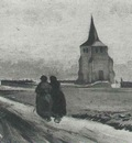 Old Tower of Nuenen with People Walking, The