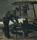 Weaver Standing in Front of a Loom