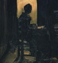 Peasant Woman Seated before an Open Door, Peeling Potatoes