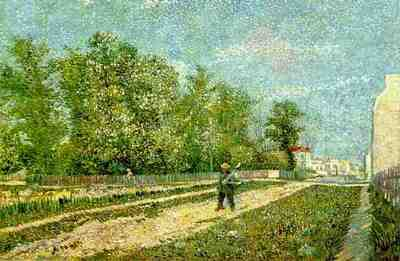 Outskirts of Paris Road with Peasant Shouldering a Spade