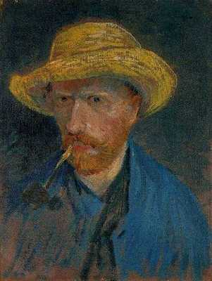 Self Portrait with Straw Hat and Pipe