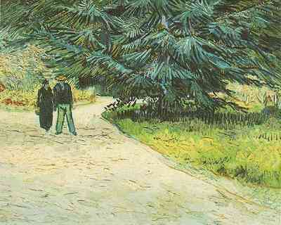 Public Garden with Couple and Blue Fir Tree The Poets Garden III