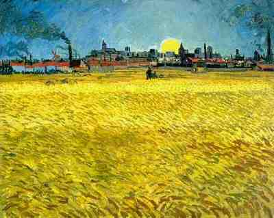 Sunset Wheat Fields Near Arles