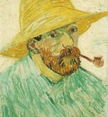 Self Portrait with Pipe and Straw Hat