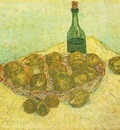 Still Life Bottle, Lemons and Oranges