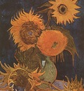 Still Life Vase with Five Sunflowers