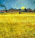 Sunset Wheat Fields Near Arles