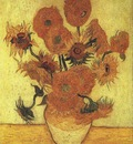 still life vase with fifteen sunflowers version