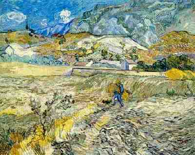 Enclosed Wheat Field with Peasant