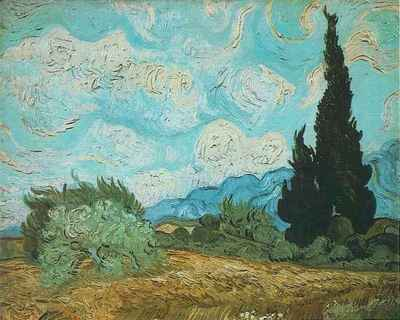 wheat field with cypresses version