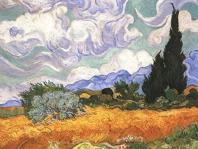 Wheat Field with Cypresses