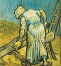 Peasant Woman Cutting Straw after Millet
