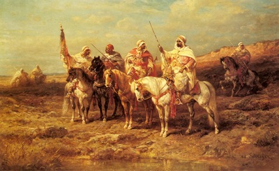 Adolf Schreyer Arab Horseman By A Watering Hole