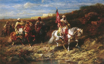 Adolf Schreyer Arab Horseman In A Landscape