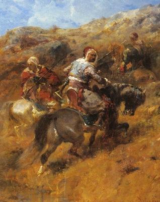 Adolf Schreyer Arab Warriors On A Hillside