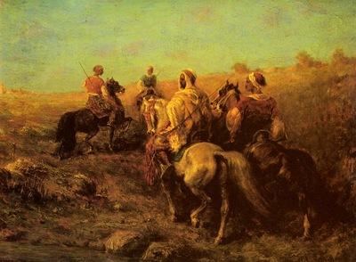 Adolf Schreyer Arabian Horsemen Near A Watering Place