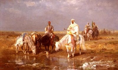 Adolf Schreyer Arabs Watering Their Horses