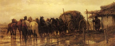 Adolf Schreyer Hitching Horses To The Wagon