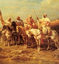 Adolf Schreyer Arab Horseman By A Watering Hole