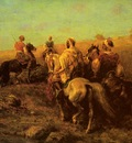 Adolf Schreyer Arabian Horsemen Near A Watering Place