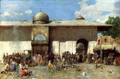Alberto Pasini A Market Scene