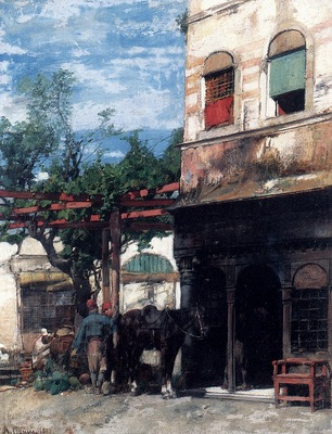 Alberto Pasini In The Courtyard