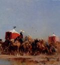 Alberto Pasini Caravan In The Desert