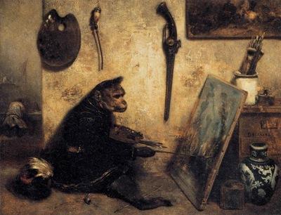 Alexandre Gabriel Decamps The Monkey Painter