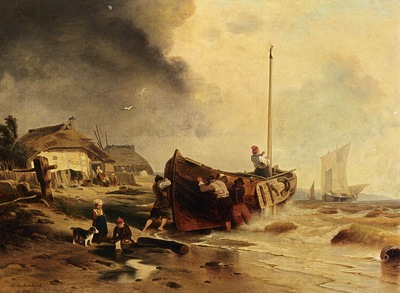 Andreas Achenbach A Fishingboat On The Beach