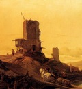 Bossuet Francois Antoine A Hill With An Arab Windmill Under Construction A Town In The Distance