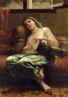 Charles Landelle Algerian Woman Playing A Darbouka