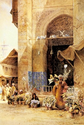 Charles Robertson The Flower Market In Damascus
