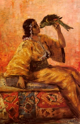 Charlet Frantz A Moroccan Beauty Holding A Parrot