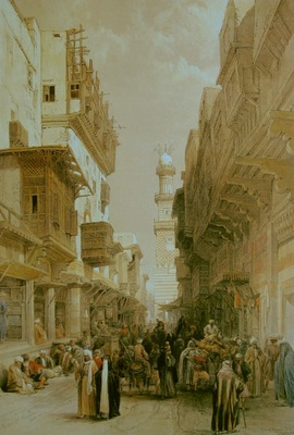 David Roberts Bazaar In The Street Leading To The Mosque El Mooristan