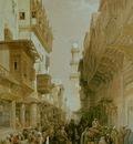 David Roberts Bazaar In The Street Leading To The Mosque El Mooristan