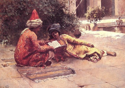 Edwin Lord Weeks Two Arabs Reading In A Courtyard
