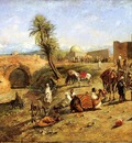 Edwin Lord Weeks Arrival Of A Caravan Outside The City Of Morocco