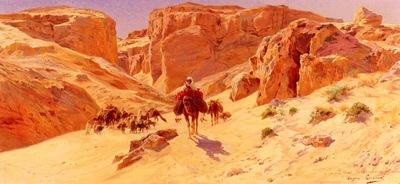 Eugene Alexis Girardet Caravan In The Desert