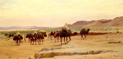 Eugene Alexis Girardet Caravanes De Sel Dans Le Desert