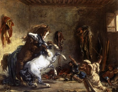 Eugene Delacroix Arab Horses Fighting In A Stable