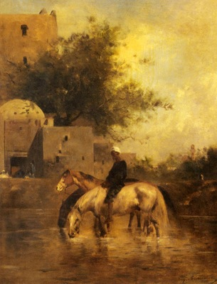 Eugene Fromentin Horses Watering In aA River