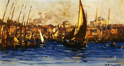 Fausto Zonaro The Port Of Istanbul