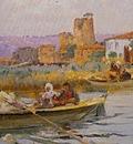 Fausto Zonaro Boat Scene